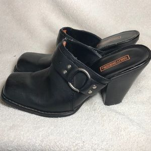 Women's Size 7 Harley-Davidson Leather Clogs LOOK!